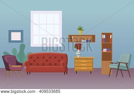Living Room Interior. Cozy Room Design Sofa, Bookshelf, Window, Chair And House Plants, Table And Ho