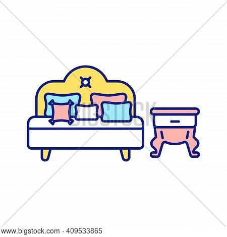 Cleaning-out In Bedroom Rgb Color Icon. Making Bed. Storage Of Unused Things. Tidying And Freeing Up