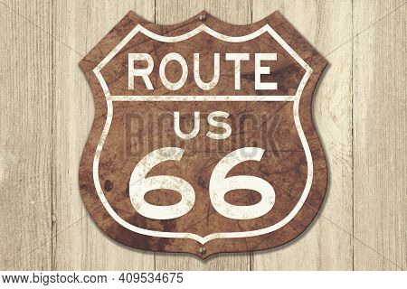 Retro Weathered Route Us 66 Highway Sign On Weathered Wood 3d Illustration