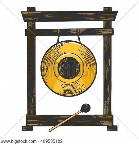 Gong Musical Percussion Instrument Circular Metal Disc Color Sketch Engraving Vector Illustration. T
