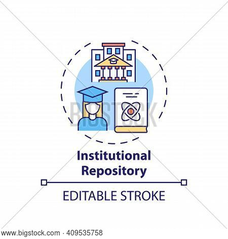 Institutional Repository Concept Icon. Online Library Search Options Idea Thin Line Illustration. Co