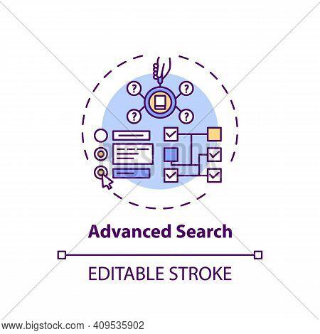 Advanced Search Concept Icon. Online Library Search Types Idea Thin Line Illustration. Professional