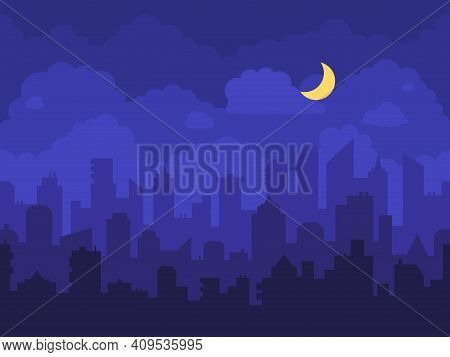 Night Cityscape. Cartoon City At Night With Skyscrapers Skyline, Clouds And Moon. Panorama With High