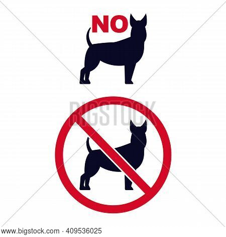 No Dogs Signs. Pet Forbidden Icons With Dogs Silhouette Vector Set. Red Crossed Circle With Pet Rest