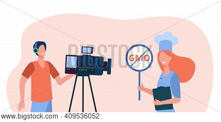 Healthy Food Blogger Taking Video Workshop. Camera Man Making Reportage, Chef Choosing Gmo Free Meal