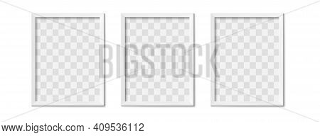 White Photo Frames. Empty Gray Simple Image Square Border With Shadow On Gallery Wall. Isolated Pict