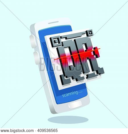 Smartphone Scanning Qr Code On Smartphone 3d, Three Dimentional Toy Like Vector Illustration Icon