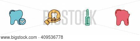 Set Tooth Whitening Concept, , Painkiller Tablet And Broken Tooth Icon. Vector