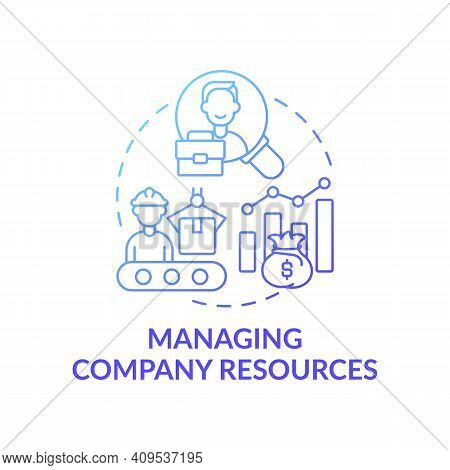 Managing Company Resources Concept Icon. Top Management Tasks. Businesses Resources Managing Effecti