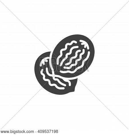 Nutmeg Seed Vector Icon. Filled Flat Sign For Mobile Concept And Web Design. Nutmeg Nut Glyph Icon.