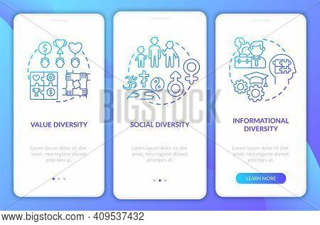 Top Management Diversity Types Onboarding Mobile App Page Screen With Concepts. Diversity Types Walk