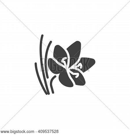 Saffron Flower Vector Icon. Filled Flat Sign For Mobile Concept And Web Design. Crocus Saffron Glyph