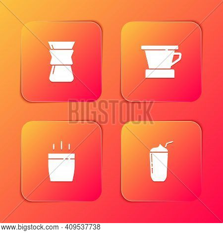 Set Pour Over Coffee Maker, V60 Coffee Maker, Coffee Cup And Milkshake Icon. Vector