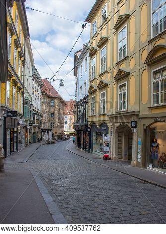 Graz/austria - June 16, 2019: Pedestrian Street With Shops In The Old Charming City Center Of Graz,