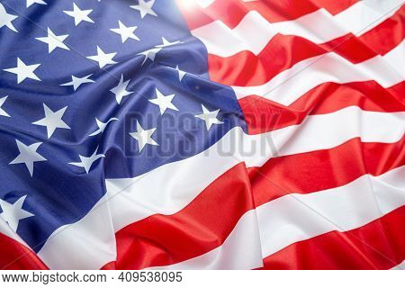Beautiful Fluttering Usa Flag, Close-up. Studio Shot