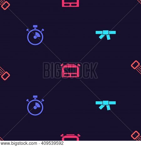 Set Black Karate Belt, Stopwatch, And Chest Expander On Seamless Pattern. Vector