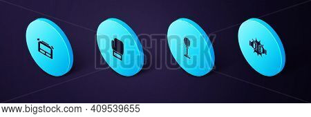 Set Isometric Punch In Boxing Gloves, Punching Bag, Boxing And Stopwatch Icon. Vector