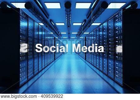 Social Media Logo In Large Modern Data Center With Rows Of Network Internet Server Racks, 3d Illustr