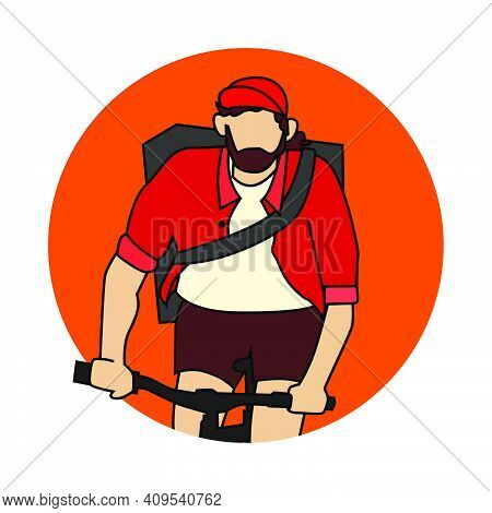 Beard Hipster Cyclist Wear Back Pack For Bike Messenger Avatar Or Icon Vector Illustration
