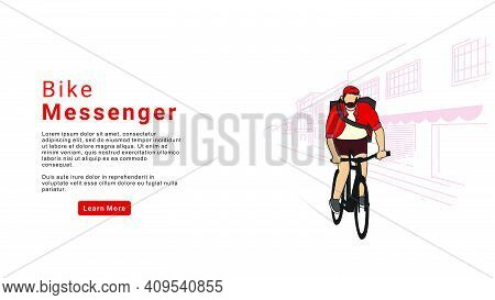 Bicycle Delivery Logistics Courier. Bike Messenger Bearded Male Character Hipster Style. Bike Messen