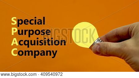 Spac, Special Purpose Acquisition Company Symbol. Word 'spac' On Beautiful Orange Background, Copy S