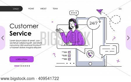Female Character Is Working In Customer Service. Concept Of Round The Clock Customer Service Helplin