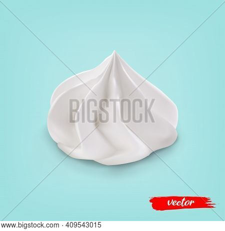 Whipped Cream Swirl Isolated On White Background. 3d Realistic Vector Illustration Of Whipped Cream.