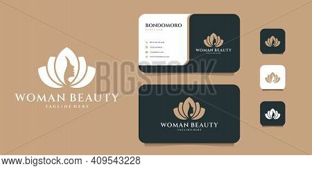 Woman Lotus Feminine Logo Design With Business Card Template. Suit For Decoration, Icon, Brand, Iden