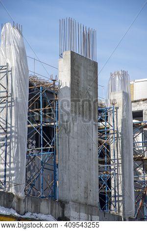 Construction Of High-rise Buildings, Concrete Formwork, Rebar Frame.