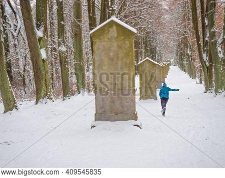Boy Run At Calvary, Paints Stations Of The Cross In Park. Popular Saint Hill Near Cvikov, Czechia. W