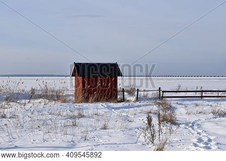 Red Fishing Cabin By The Coast Of The Baltic Sea At The Island Oland