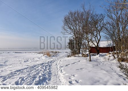 Coastal Winter View On The Island Oland In The Baltic Sea In Sweden