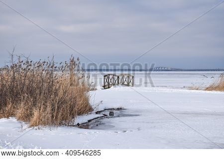 Winter View At The Oland Bridge In Sweden From The Coast Of The Island Oland