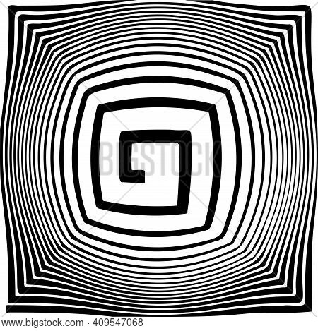 Vector Spiral. Spiral. The Concentric Circles. The Silhouette Of The Spiral. Effect, Hypnosis, The S