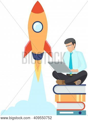 Man Presents New Project With Laptop, Start Up Concept. The Rocket Takes Off Into Sky. Businessman S