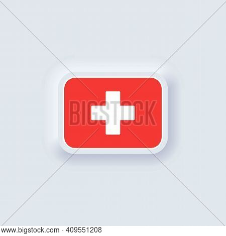 Flag Of Switzerland. National Switzerland Flag. Vector Illustration. Eps10. Simple Icons With Flags.