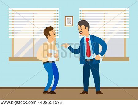 Angry Boss Shouting To On Employee. Conflict In Office Between Boss And Worker Due To A Mistake. Har