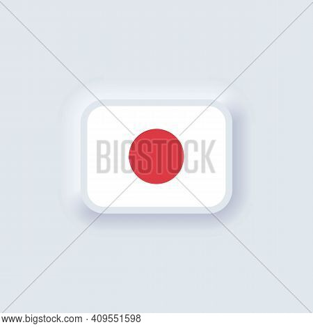 Flag Of Japan. National Japan Flag. Japanian Symbol. Vector Illustration. Eps10. Simple Icons With F
