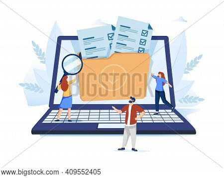 Organized Archive. Searching Files In Database. Records Management, Records And Information Manageme