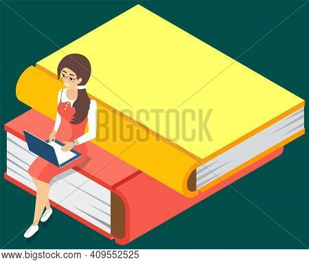 Online Library. Books In Your Laptop. Young Girl Love To Read Sitting On Stack Of Large Books And Us
