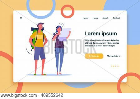 Young Smiling Couple Planning Route And Looking At Map. Travelers With Backpack And Map Flat Vector