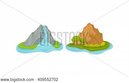 Islands With Waterfall And Rock Massif Surrounded By Water Vector Set