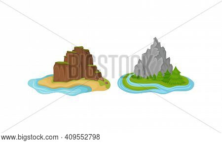 Islands With Rock Massif Surrounded By Water Vector Set
