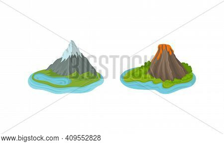 Islands With Rock Massif And Volcano Surrounded By Water Vector Set