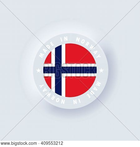 Made In Norway. Norway Made. Norway Round Quality Emblem, Label, Sign, Button, Badge In 3d Style. Si