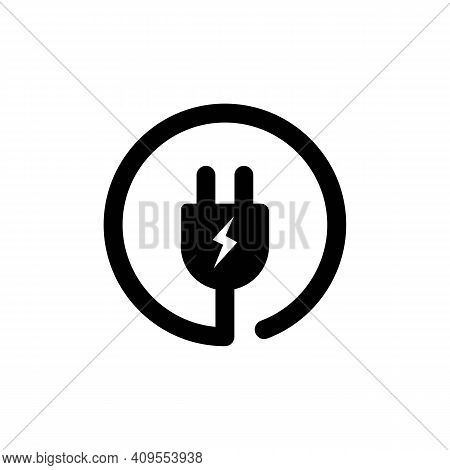 Electrical Plug Icon. Uk Electric Plug Icon. Wire, Cable Of Energy Disconnect. Electrical Plug Logo.