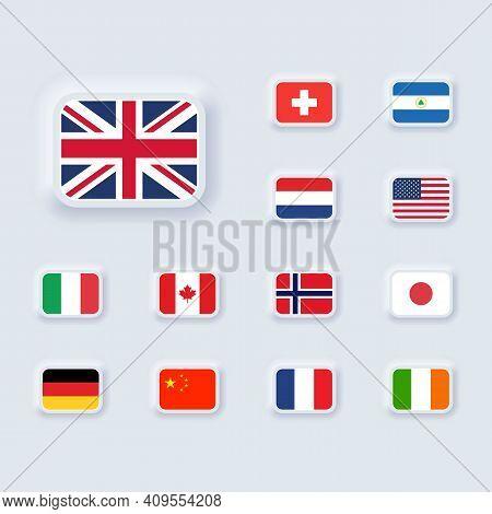 Set Of Flag Icon. United States, Italy, China, France, Canada, Japan, Ireland, Kingdom, Nicaragua, N