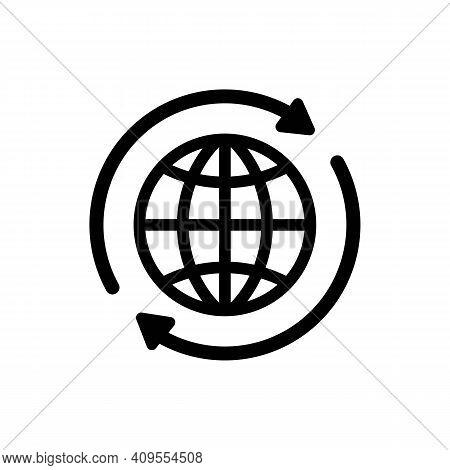 Internet Icon. World International Earth Globe Icon. Round Globe With 2 Sync Arrows Around Icon. Glo