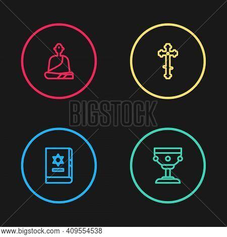Set Line Jewish Torah Book, Christian Chalice, Cross And Buddhist Monk Icon. Vector