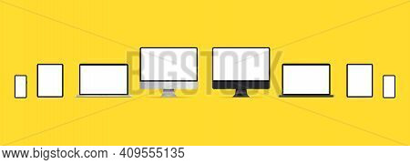Set Technology Devices With Empty Display. Realistic Set Of Monitor, Laptop, Tablet, Smartphone. Bla